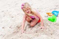 Little Girl on the Beach Stock Image