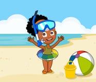 African american cute girl on beach. Little girl on the beach with scuba gear smiling Stock Photos