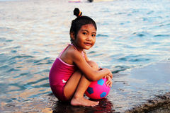 Little girl on beach. Royalty Free Stock Photos