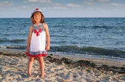 Little girl on beach summer scene Royalty Free Stock Photography