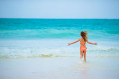 Little girl at beach during summer vacation Royalty Free Stock Photography