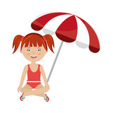 Little girl with beach umbrella Royalty Free Stock Image