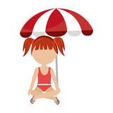 Little girl with beach umbrella Royalty Free Stock Photography