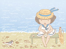 Little girl on a beach Royalty Free Stock Photography