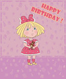 Little girl with bear celebrates birthday,  postcard Stock Images