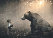 Little girl and bear Royalty Free Stock Images