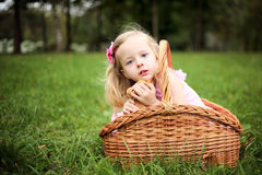 Little girl in a beautiful dress in a basket in a summer pa Royalty Free Stock Images