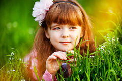 Little girl in a beautiful dress Stock Photos