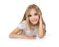 Little girl with beautiful long hair Stock Photo