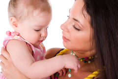 Little girl with beautiful mother Royalty Free Stock Photos