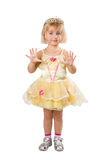 Little girl in a beautiful yellow dress and crown on white back Royalty Free Stock Images