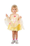 Little girl in a beautiful yellow dress and crown on white back Stock Images