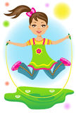 Little girl. The beauty little girl jumps on a skipping rope Royalty Free Stock Photos