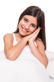 Little girl in bed Stock Photos