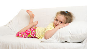 Little girl in bed. Isolated Royalty Free Stock Photo