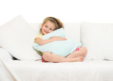 Little girl in bed Royalty Free Stock Photos