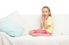 Little girl in bed Royalty Free Stock Photography