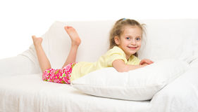 Little girl in bed Royalty Free Stock Image