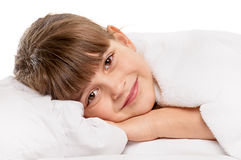 Little girl in the bed Royalty Free Stock Photo