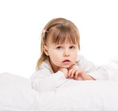Little girl in the bed Royalty Free Stock Image