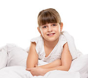 Little girl in the bed Stock Photography