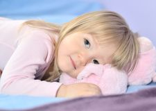 Little girl in bed. Royalty Free Stock Photo