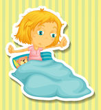 Little girl in bed waking up Royalty Free Stock Photography