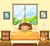 Little girl in bedroom with pet dog. Illustration Royalty Free Stock Image