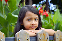 Little Girl Behind Wooden Fence Royalty Free Stock Photography