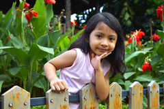 Little Girl Behind Wooden Fence Stock Photos