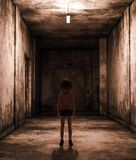 Little girl being lost in abandoned building vector illustration