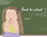 Little girl being unhappy back to school Royalty Free Stock Images