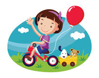 Little girl on bicycle. Cartoon vector illustration Royalty Free Stock Photos