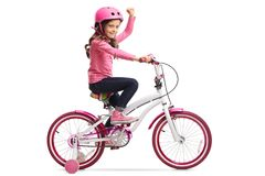 Little girl with a bicycle gesturing with her hand. Isolated on white background Stock Photography