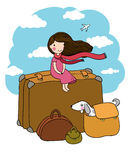 Little girl and big bags. Stock Image