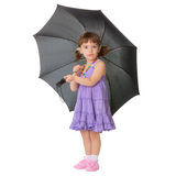 Little girl with a big black umbrella Stock Images