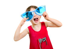 Little Girl in Big Blue Glasses Stock Photos