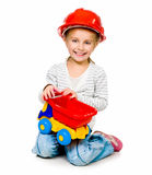 Little girl with a big car Stock Photo