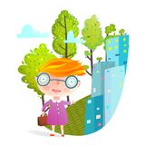 Little Girl in Big City Going to School Stock Photo