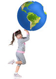 Little girl and big colorful earth Stock Images
