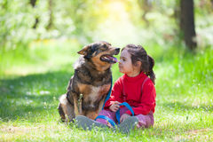 Little girl with big dog in the forest. Happy little girl with big dog sitting in the lawn in the forest Royalty Free Stock Images