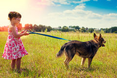 Little girl with big dog Royalty Free Stock Images