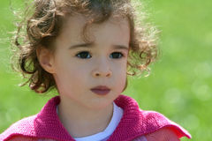 Little girl with big eyes. A portrait of a 4 year old cute little girl Royalty Free Stock Photos