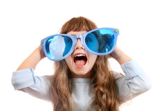 Little Girl in the Big Glasses Stock Images