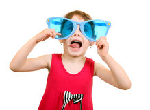 Little Girl in Big Glasses Royalty Free Stock Photos
