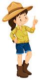 Little girl with big hat and boots. Illustration Stock Photo