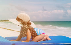 Little girl in big hat on summer tropical beach Stock Image