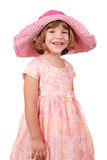 Little girl with big hat on white Stock Image