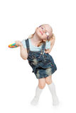 Little girl with big lollipop Stock Image