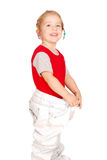 Little girl in big pants Royalty Free Stock Photography